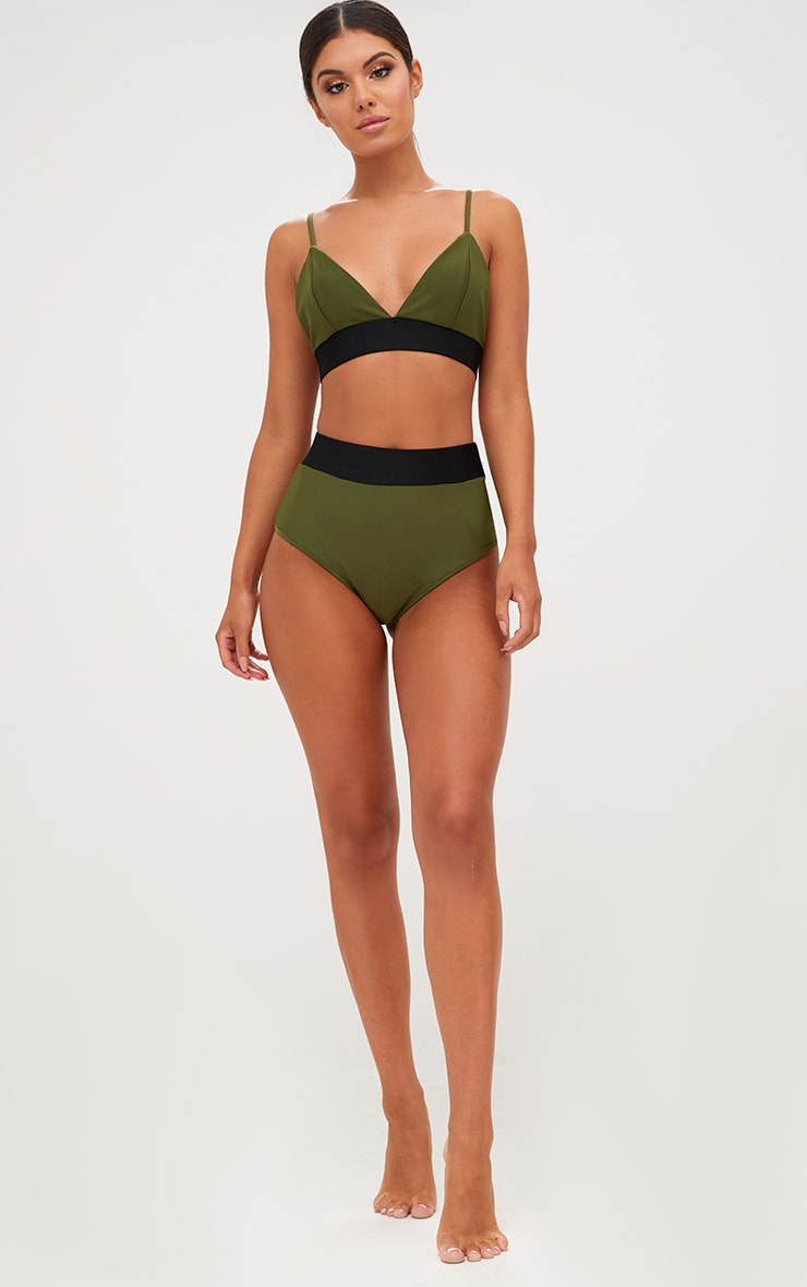 Khaki Contrast Bikini Top 4