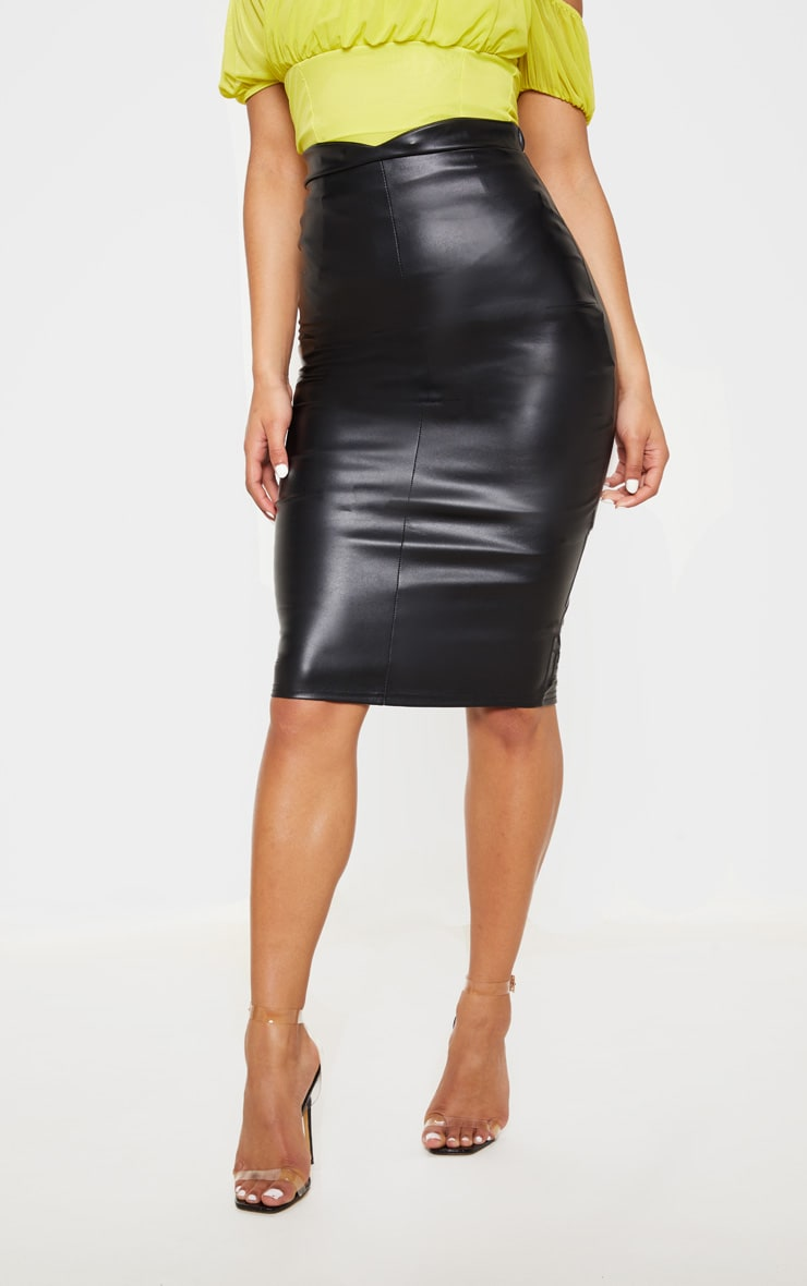 Eva Black Faux Leather Panel Midi Skirt 2
