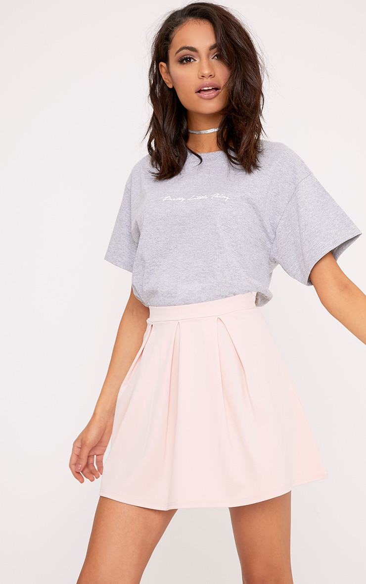 Rosabela Blush Box Pleat Skater Mini Skirt  1