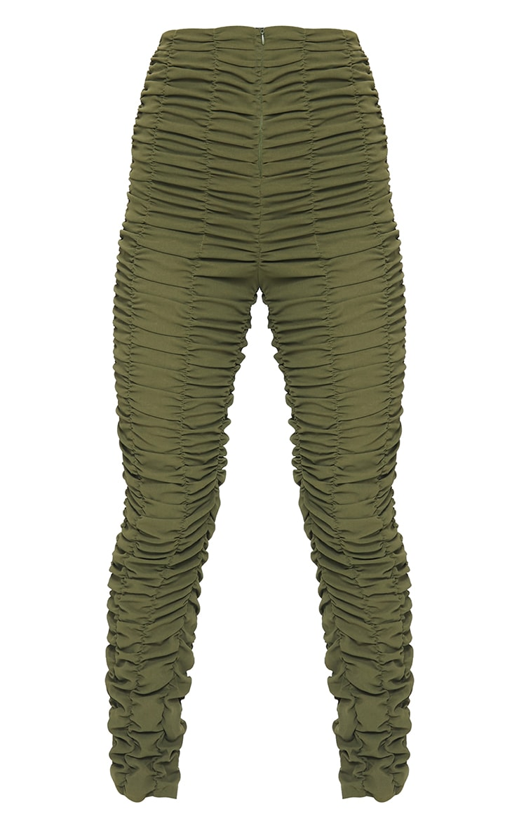 Khaki Ruched Leg Woven Skinny Trousers 5