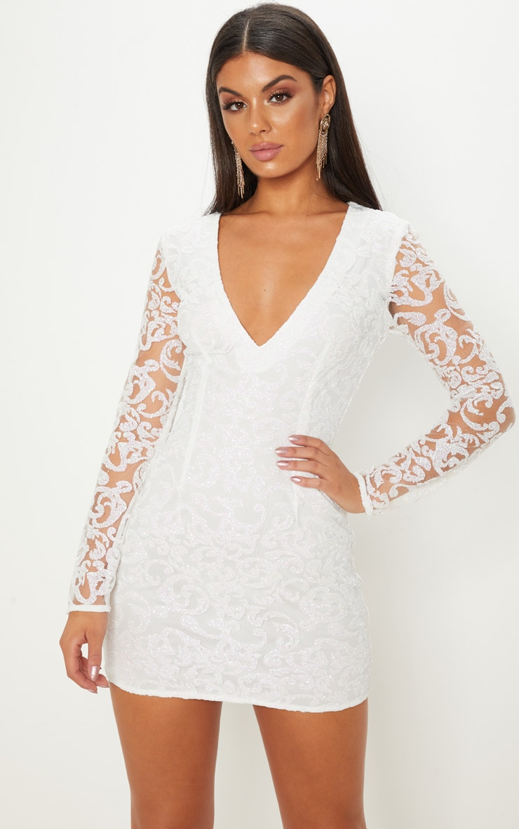 white glitter plunge bodycon dress  dresses