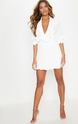 a5a8e74bf81 White Frill Detail Pleated Skater Dress image 4