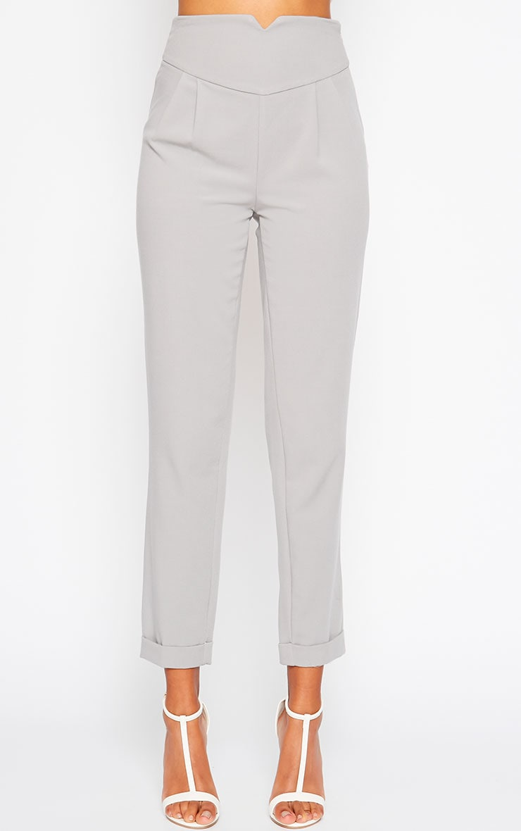 Elenor Light Grey High Waisted Tapered Trousers 3
