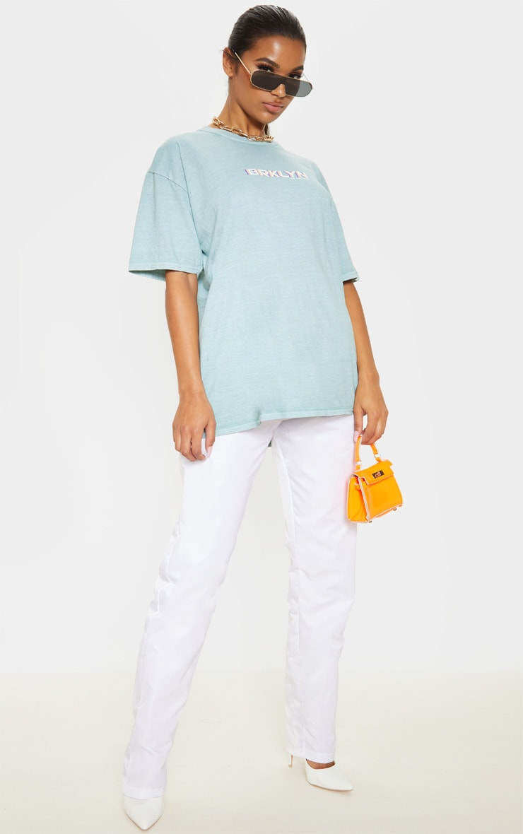Sage Brooklyn Print Oversized Washed T Shirt 4