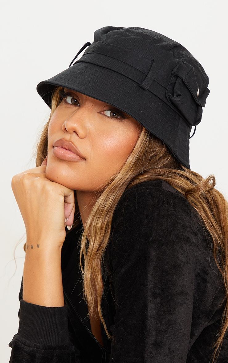 Black Pocket Detail Bucket Hat 1