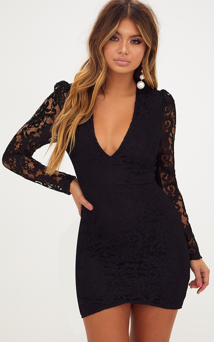 aed61b7e5d075 Black Plunge Long Sleeved Lace Bodycon Dress. Shop the range of ...