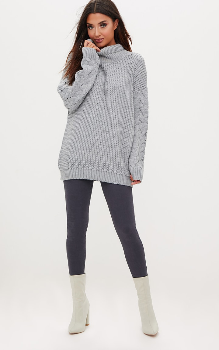 Grey Cable Knit Sleeve Jumper 4