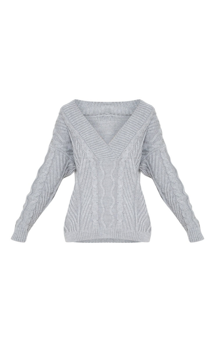 Grey Deep V Oversized Cable Knit Sweater 3