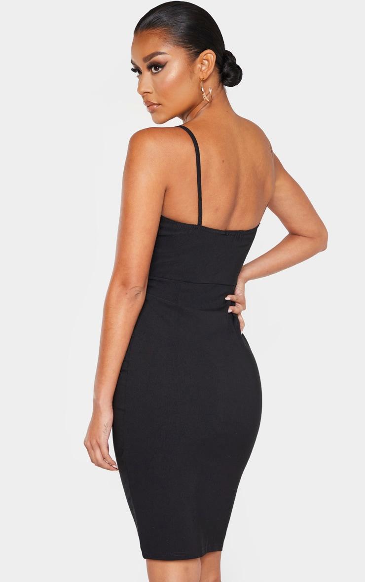 Black Woven V Detail Strappy Midi Dress 2