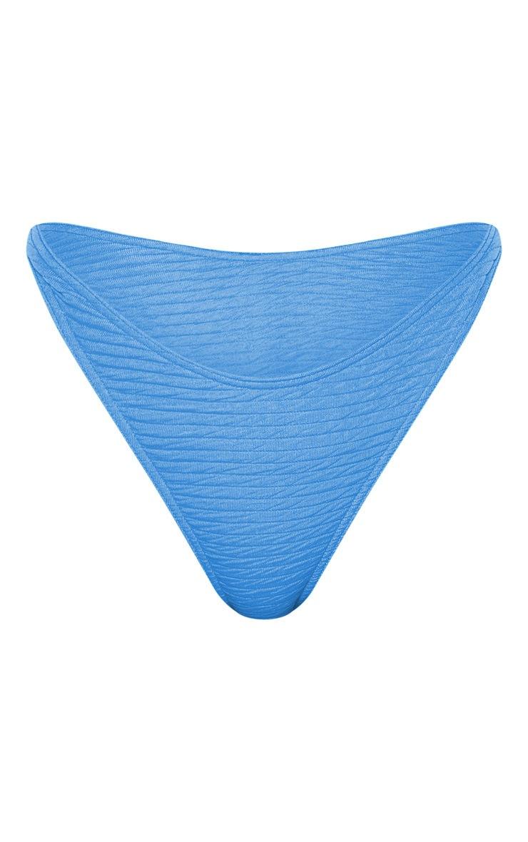 Blue Textured High Leg Bikini Bottom 4
