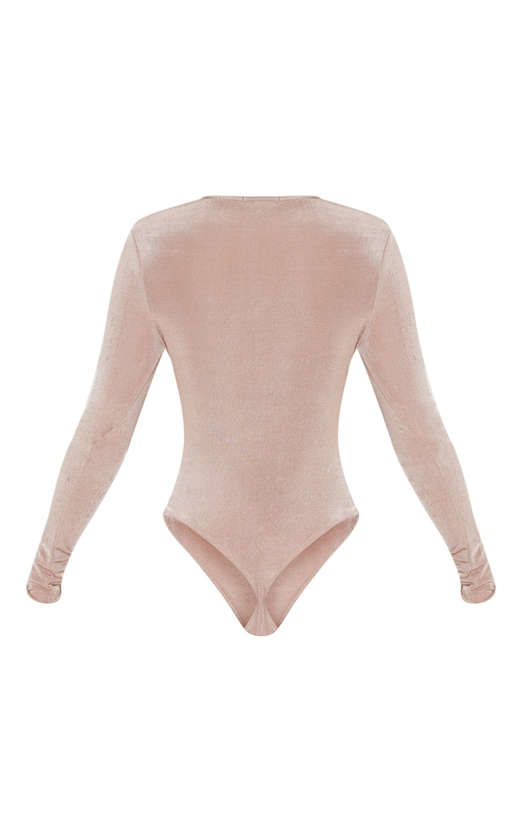 Light Pink Glitter Slinky Long Sleeve Crew Neck Bodysuit 4