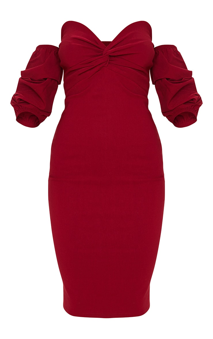 Scarlet Bardot Twist Detail Midi Dress 3