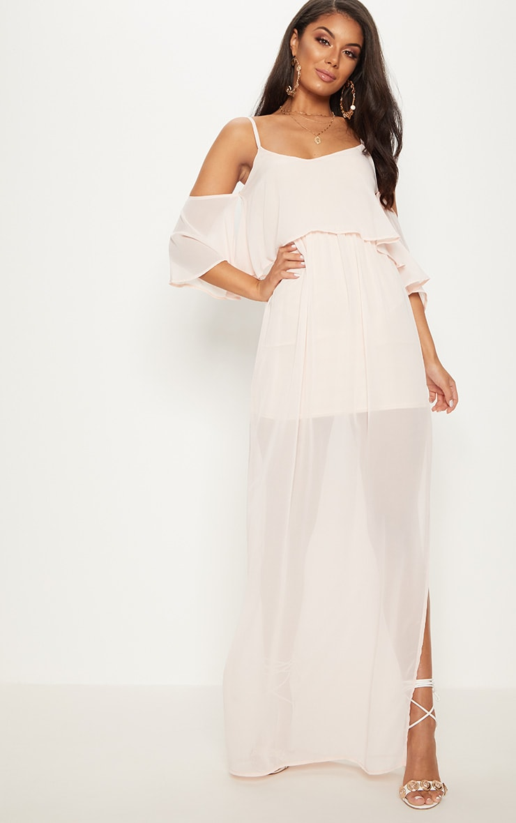 Dusty Pink Chiffon Layered Cold Shoulder Maxi Dress