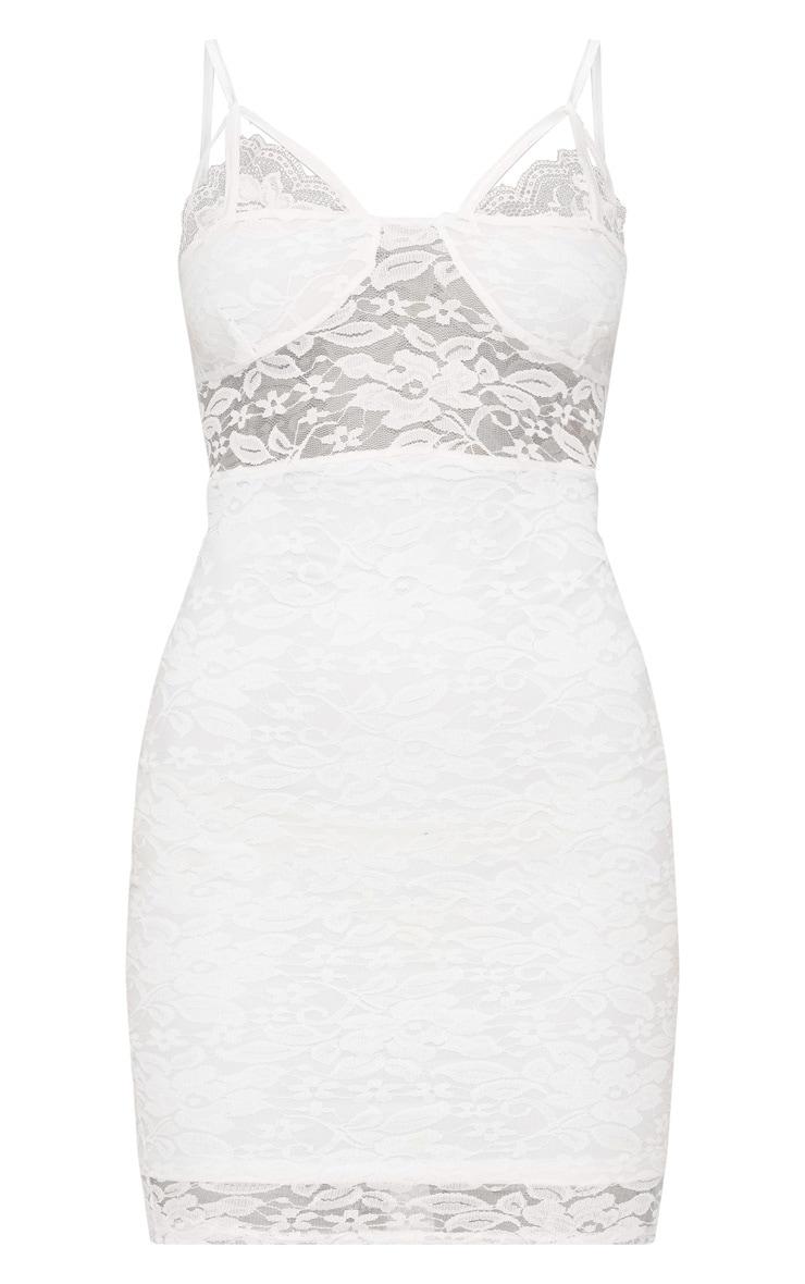 White Lace Strap Detail Bodycon Dress 3
