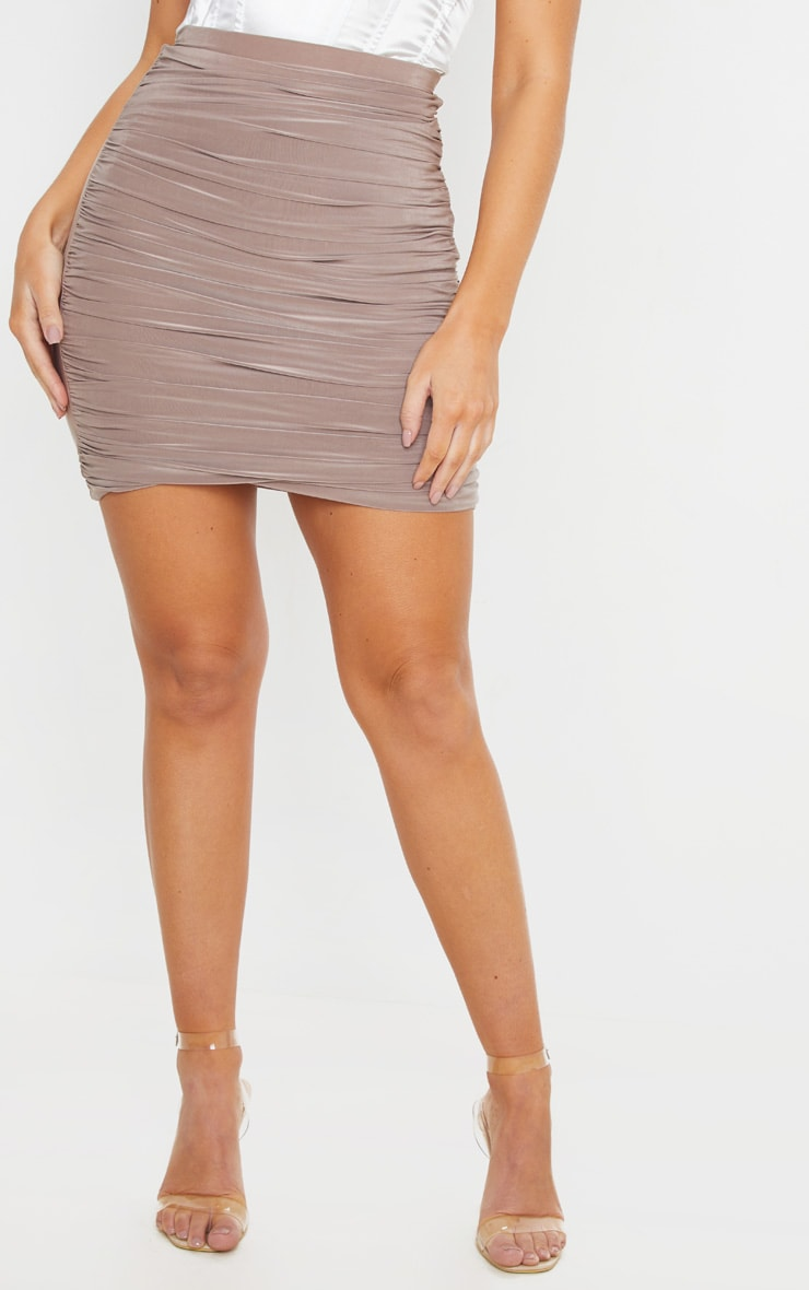 Sabina Taupe Ruched Layered Slinky Mini Skirt 2