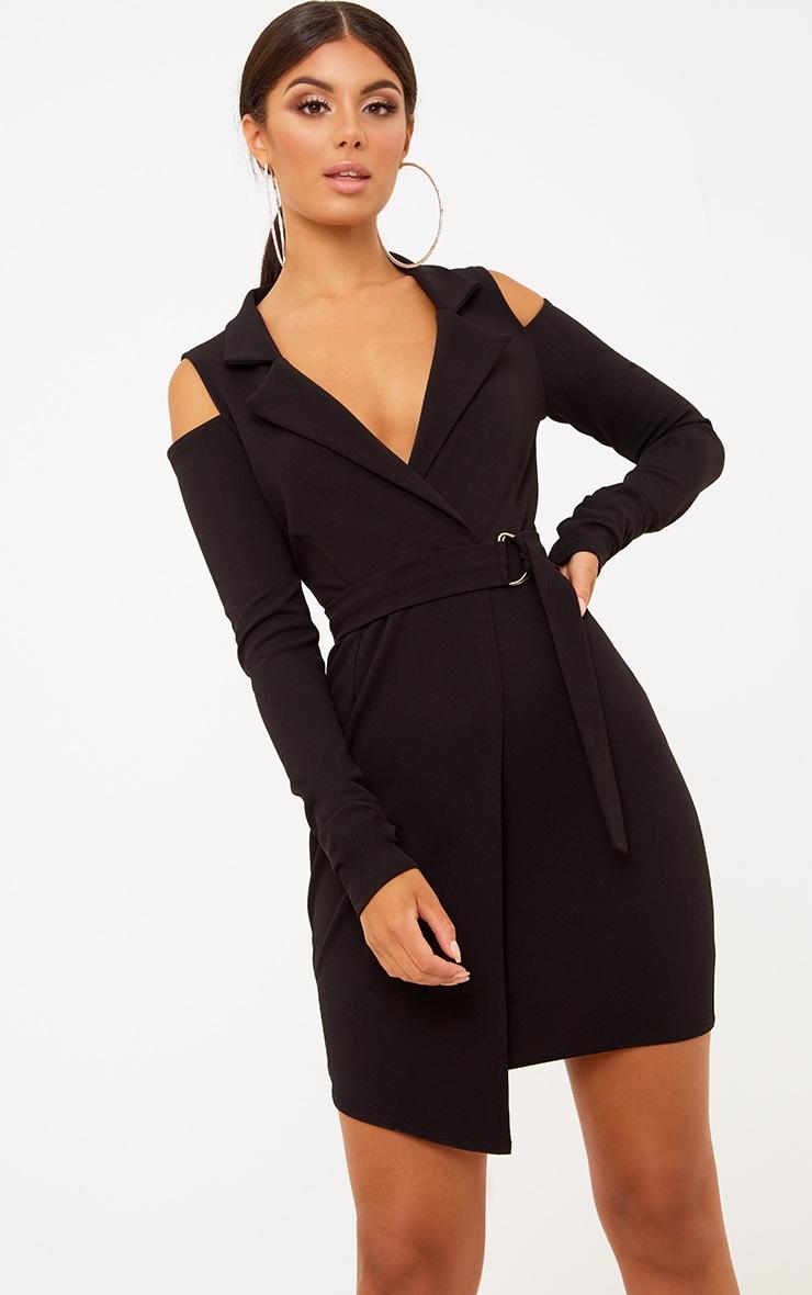 Black Cold Shoulder Blazer Dress 1