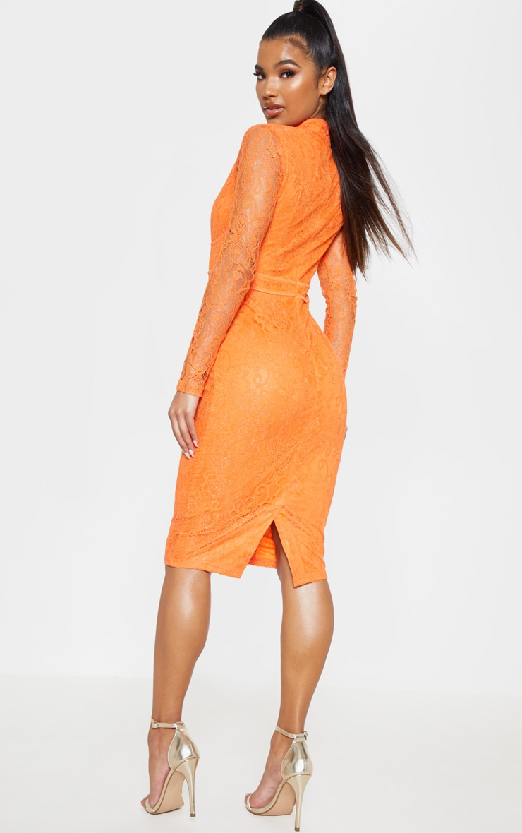 Bright Orange Lace Binding Detail High Neck Midi Dress 2
