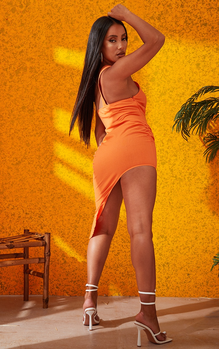 Orange One Shoulder Ring Detail Asymmetric Hem Bodycon Dress 4