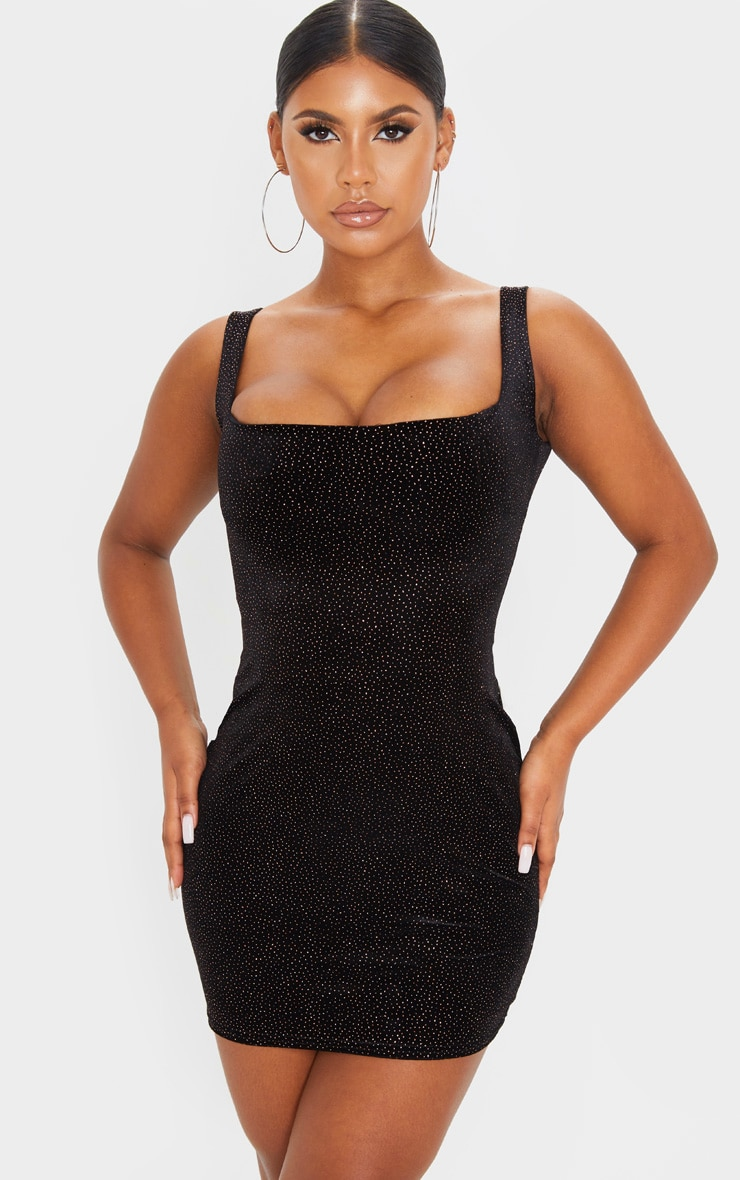 Black Glitter Velvet Sleeveless Square Neck Bodycon Dress 1