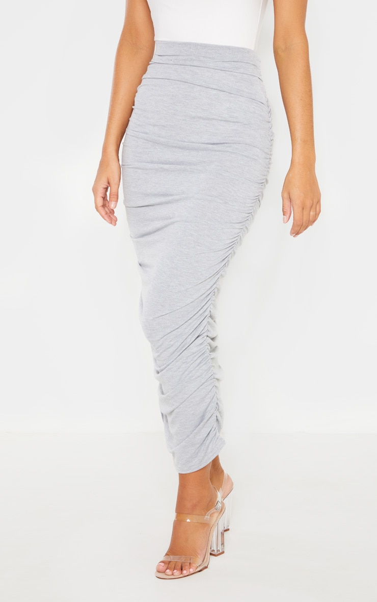 Grey Ruched Midaxi Skirt 2