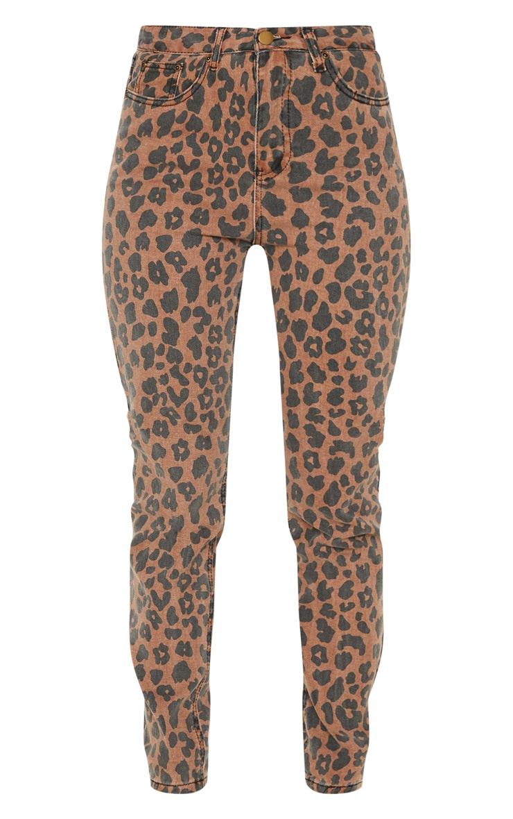 Brown Leopard Print Mom Jean 3
