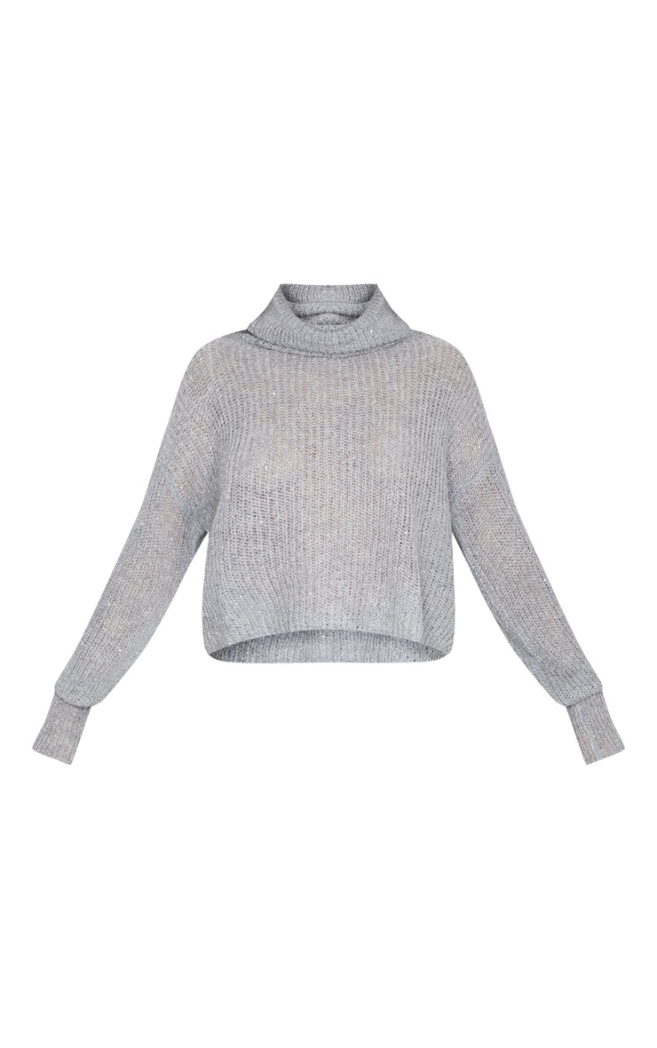 Grey Roll Neck With Sparkle Jumper 3
