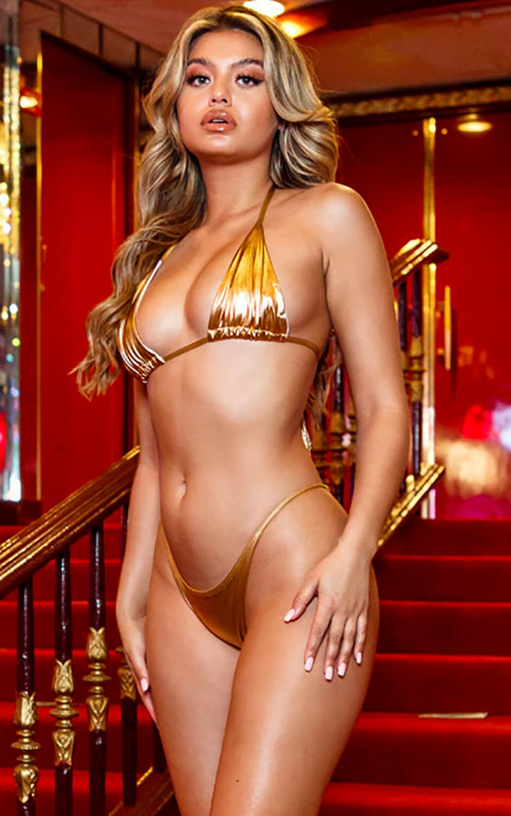 Gold Metallic Triangle Bikini Top