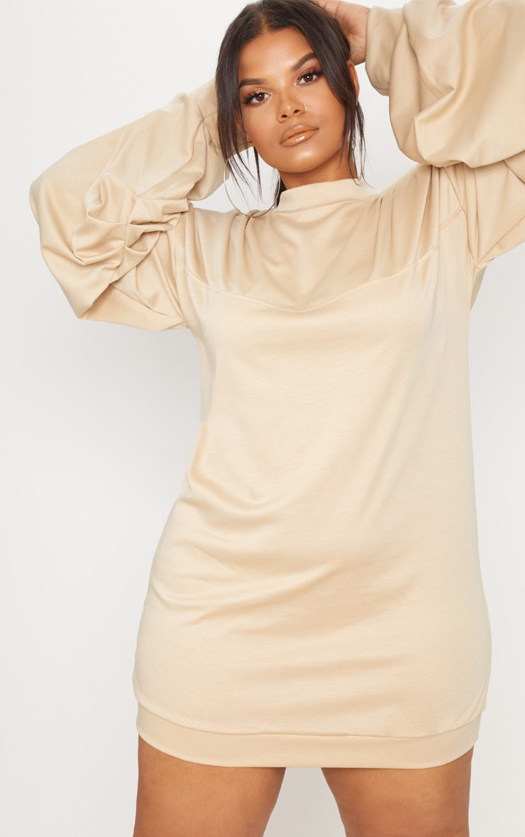 Plus Stone Ruched Sleeve Sweat Dress 3