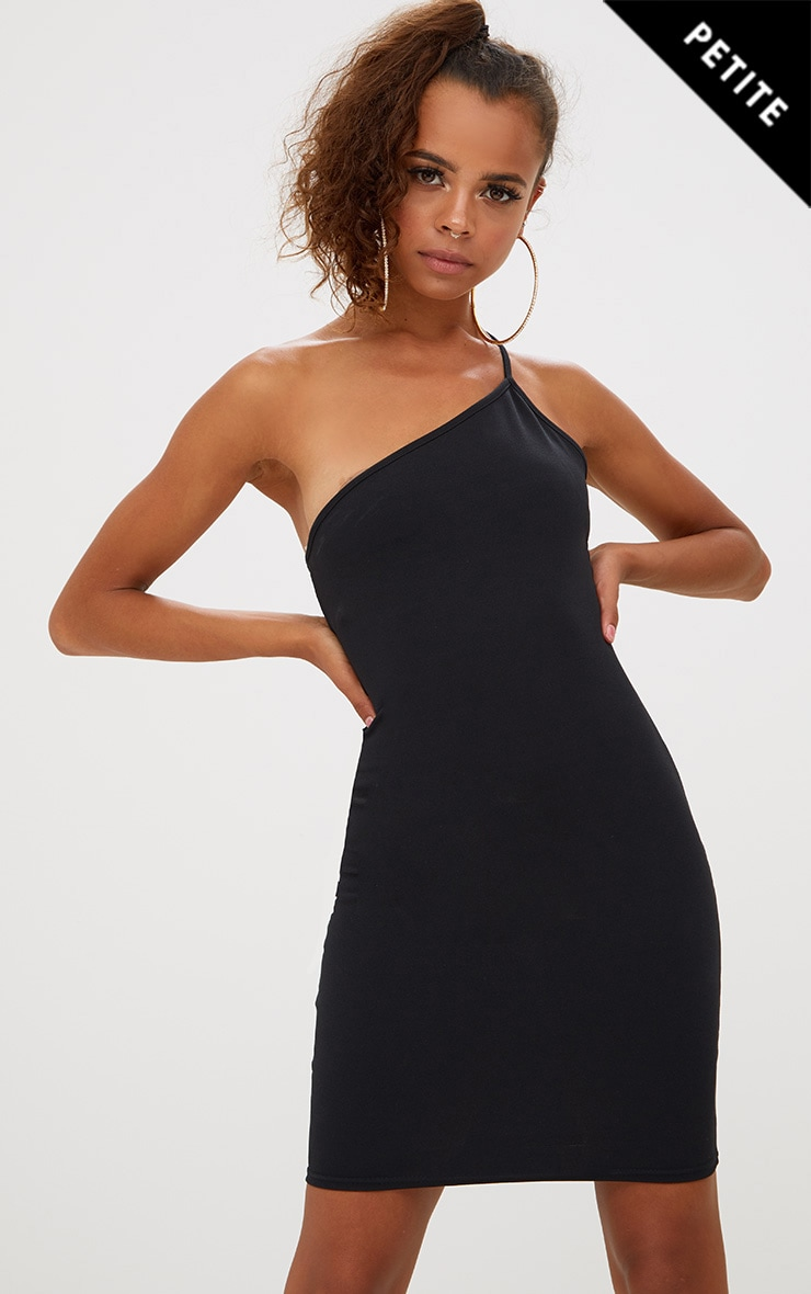 Petite Black Single Strap Bodycon Dress 1