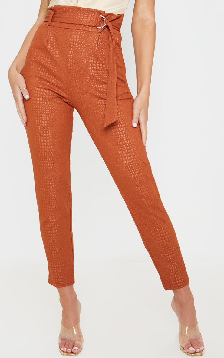 Tan Croc Print D Ring Belted Skinny Trousers 2