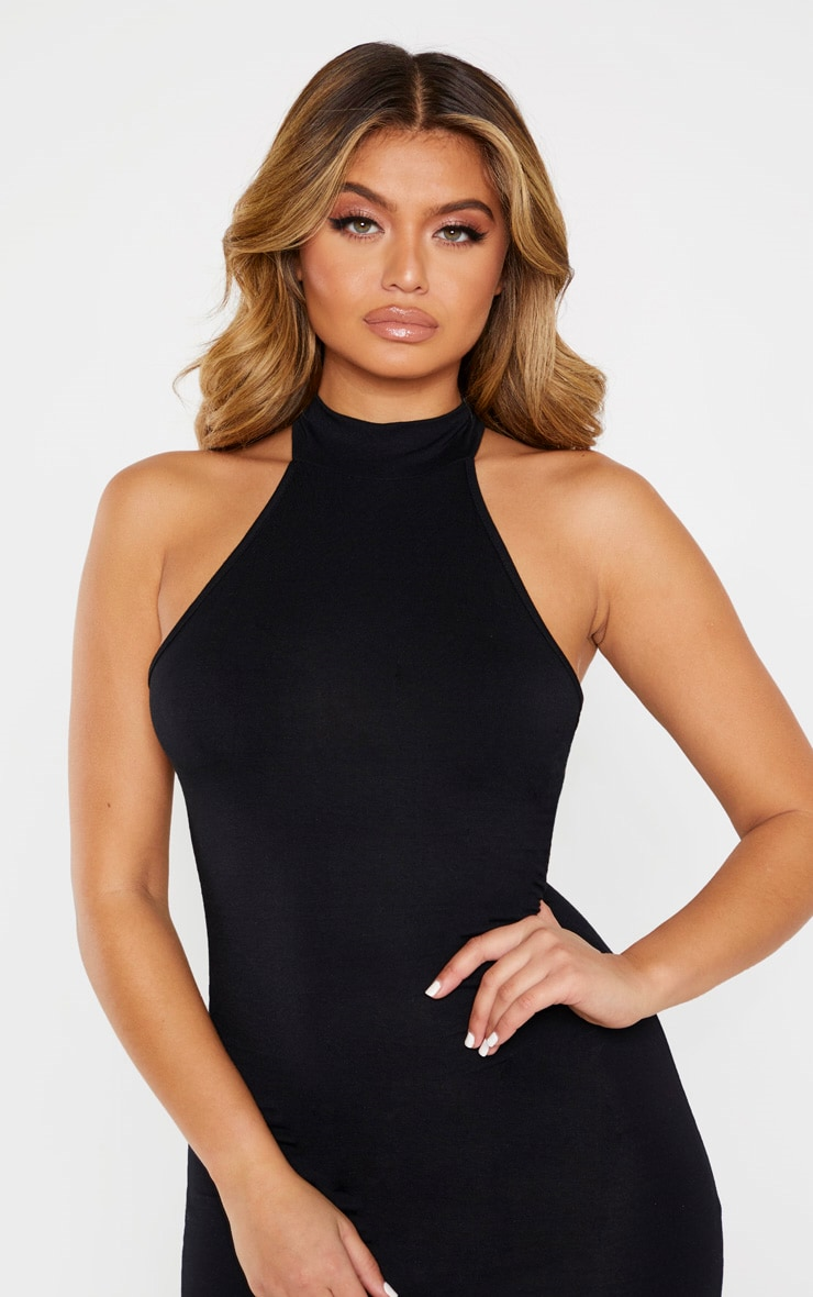 Black High Neck Midi Dress 5