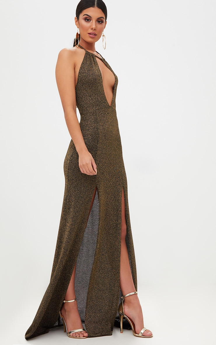 Gold Glitter Lurex Halterneck Maxi Dress 4