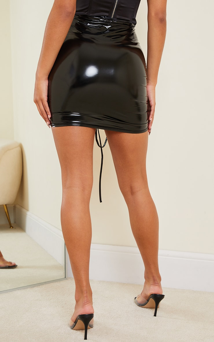 Black Vinyl Ruched Front Mini Skirt 3