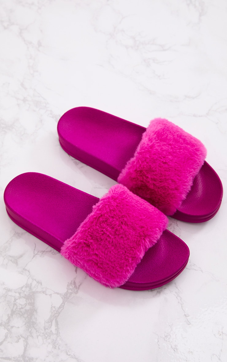 6d08aeccddd99e Hot Pink Faux Fur Fluffy Sliders
