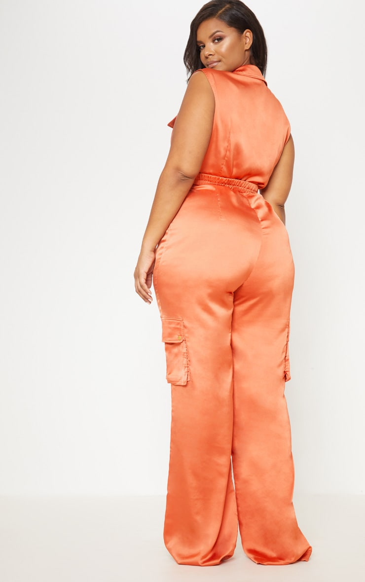Rust Plunge Utility Pocket Detail Jumpsuit 3