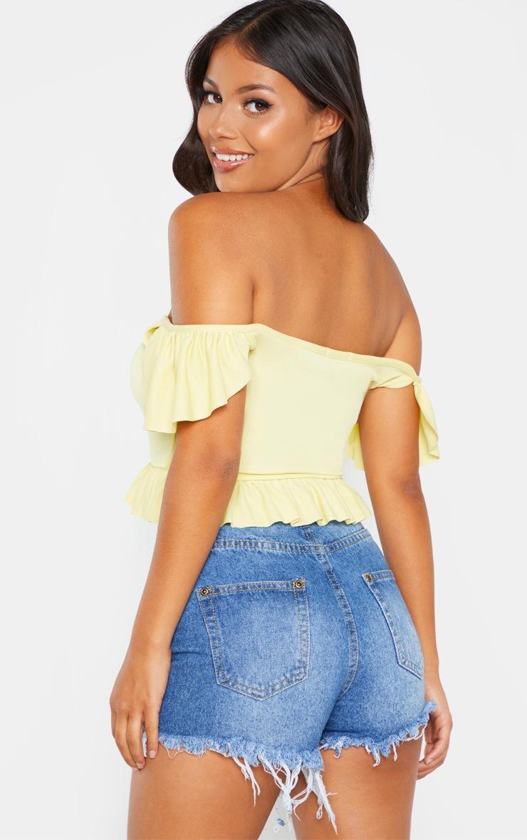 Petite Lemon Yellow Bardot Frill Detail Tie Front Crop Top 2