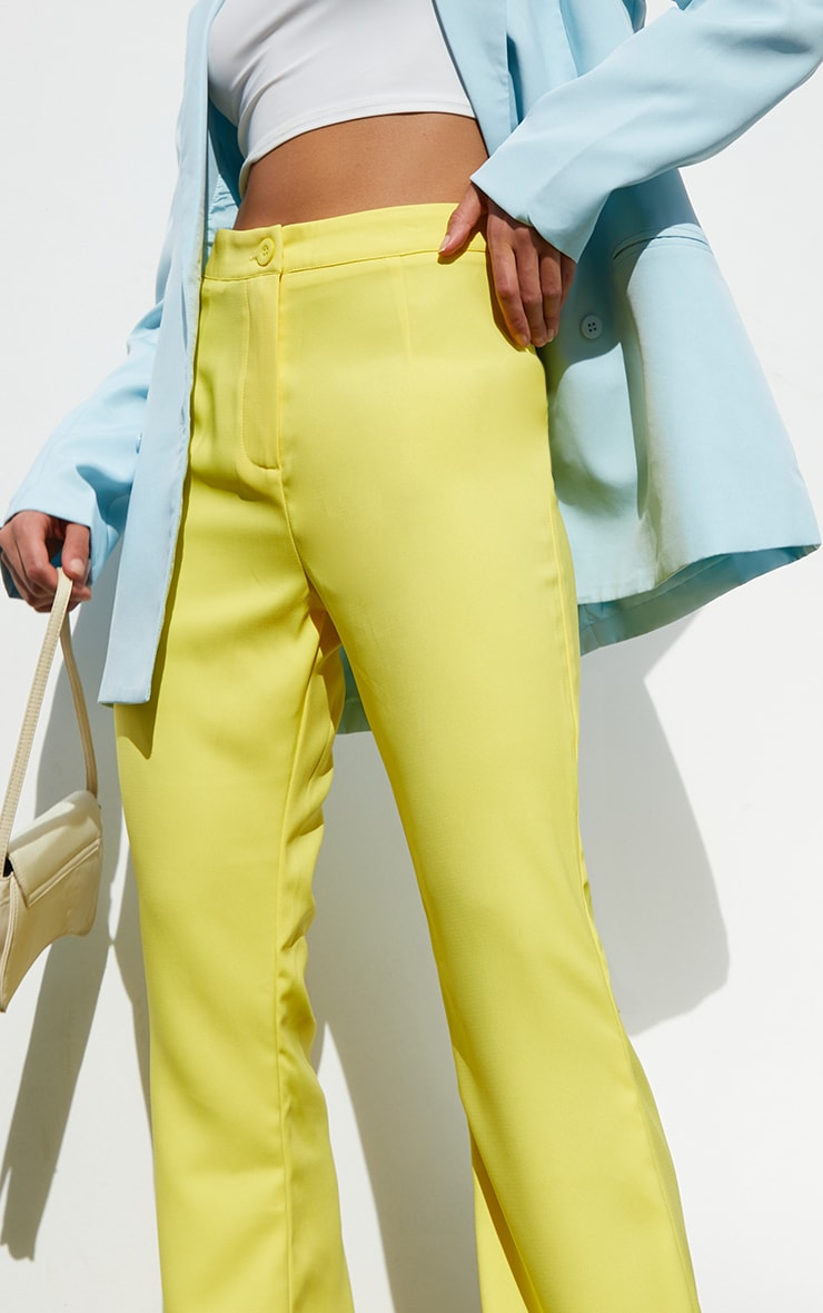 Yellow Woven Flared Trousers 4