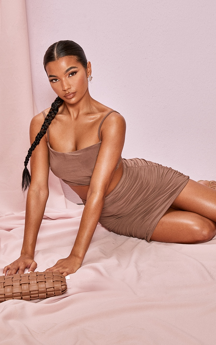Light Brown Slinky Ruched Detail Longline Strappy Top 3