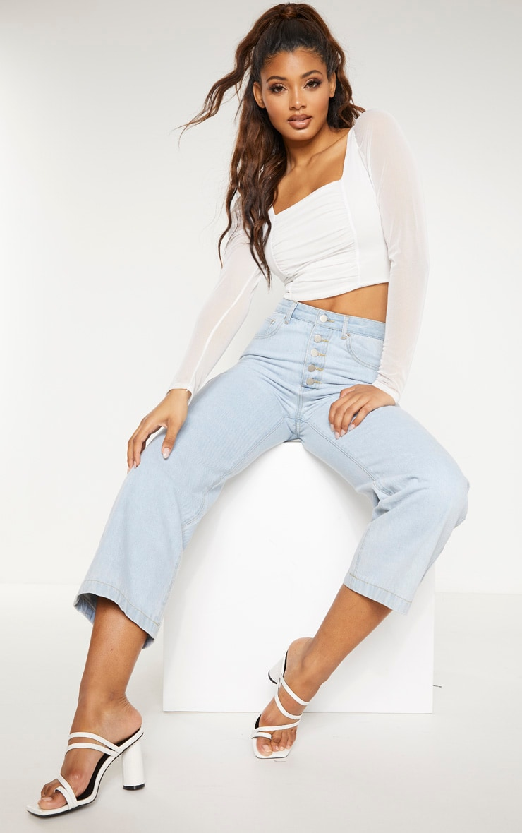 Tall White Square Neck Mesh Ruched Long Sleeve Crop Top 4