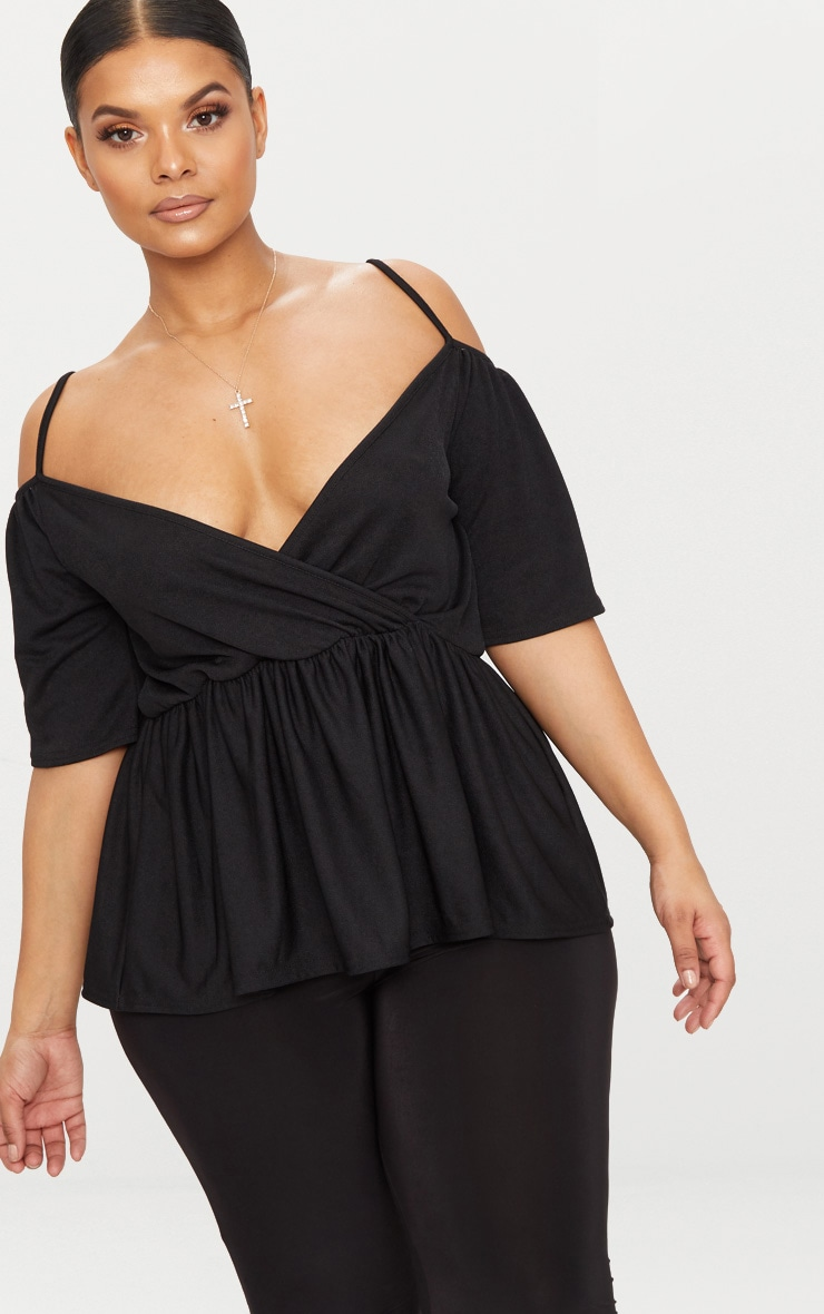 Plus Black Cold Shoulder Frill Hem Top 1