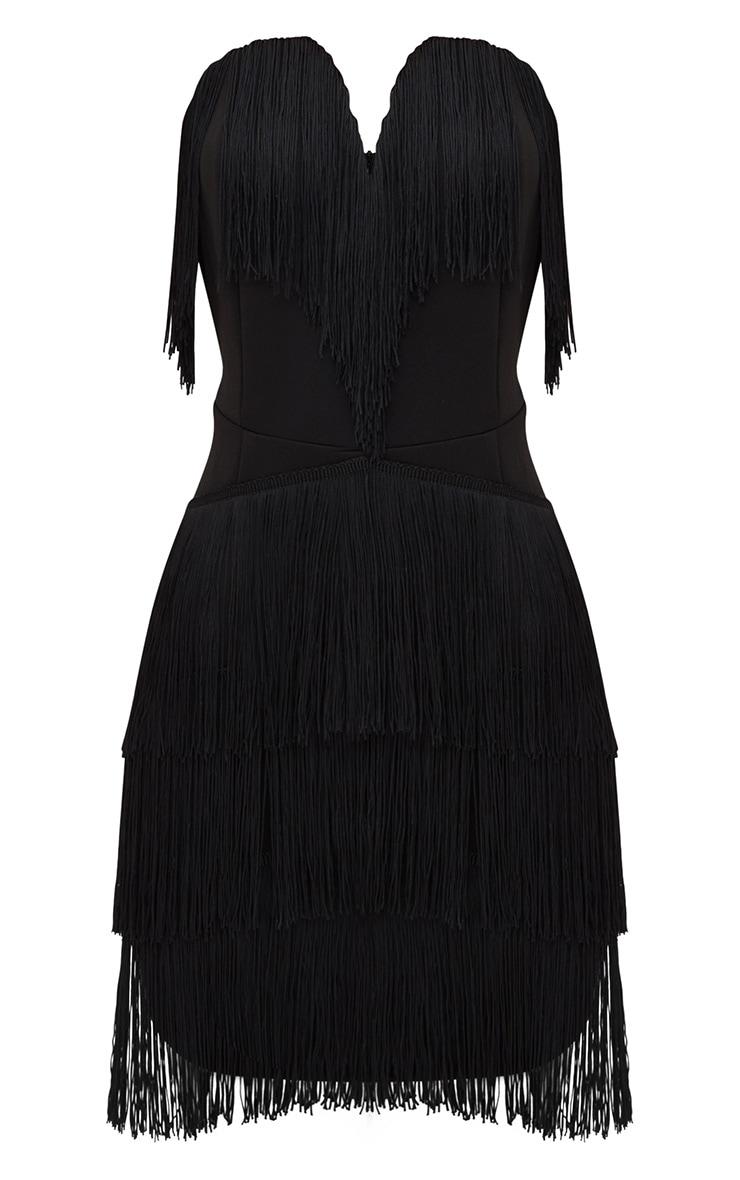 Black Tassel Detail Plunge Bandeau Bodycon Dress 3
