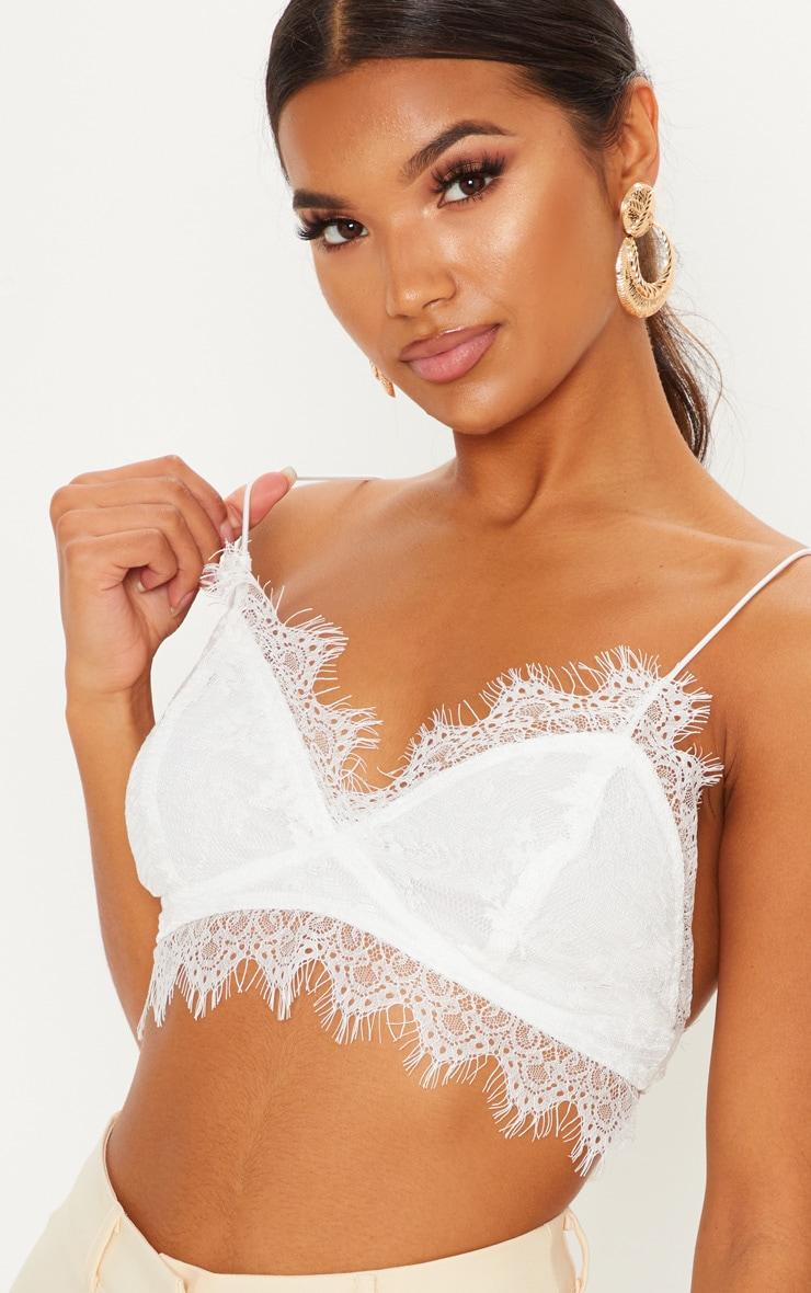 Amelie White Tie Back Lace Bralet image 5 d6b62785829