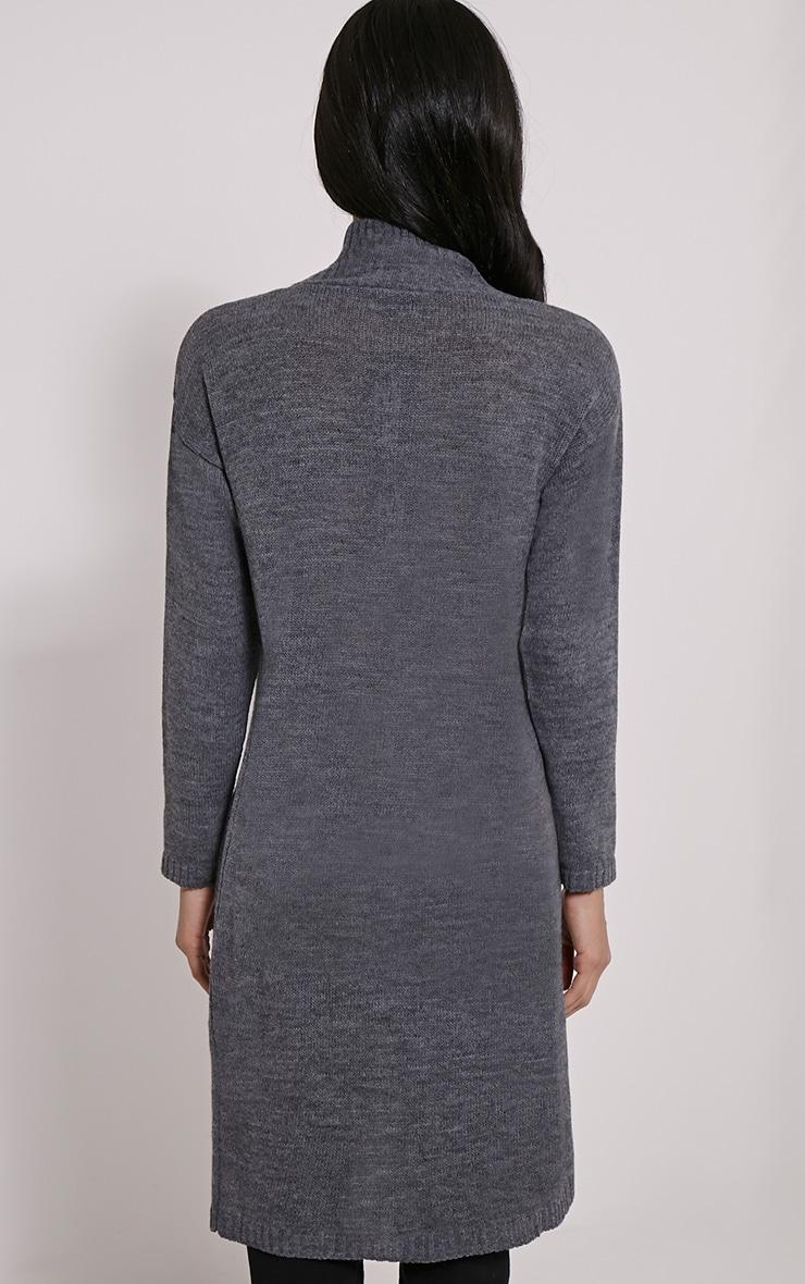Elowen Dark Grey Flat Knit Front Split Jumper 2