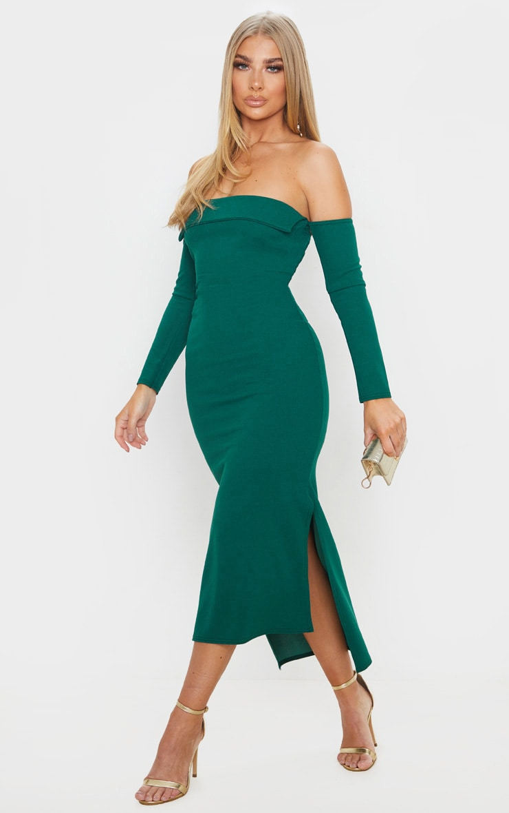 Emerald Green Fold Detail Bardot Midi Dress 1