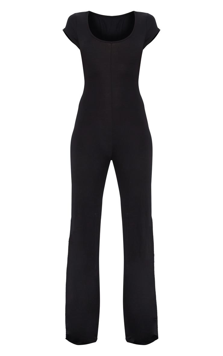 Black Cap Sleeve Sports Stripe Wide Leg Jumpsuit 3