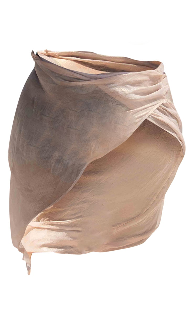 Rose Gold Metallic Chiffon Wrap Front Beach Maxi Skirt 4