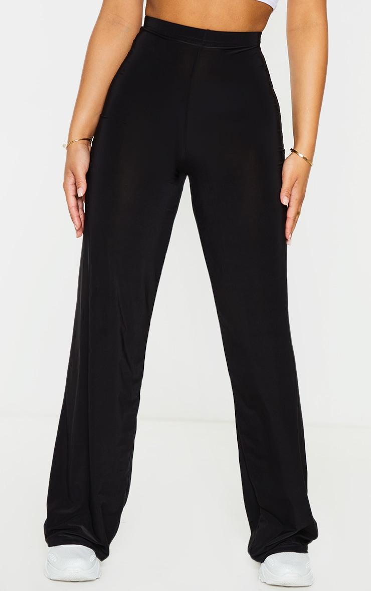 Petite Kyleigh Black Slinky Straight Leg Trouser 2
