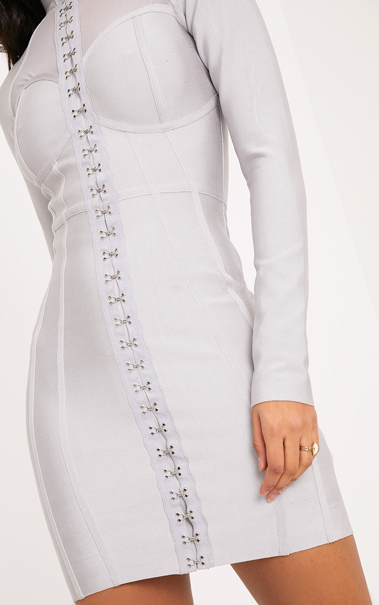 Averie Ice Grey Bandage Eyelet Detail Bodycon Dress 5