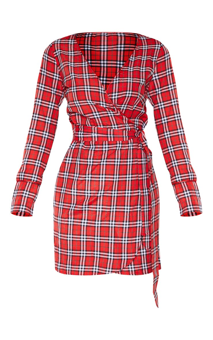 Tall Red Check Wrap Waist Shift Dress 3