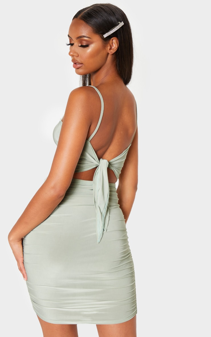 Sage Green Ruched Tie Back Strappy Bodycon Dress 1